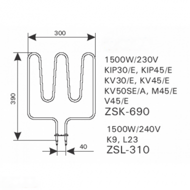 ТЭН арт.12009 аналог Harvia ZSK-690
