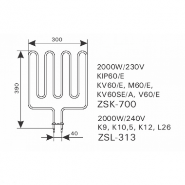 ТЭН арт.12010 аналог Harvia ZSK-700