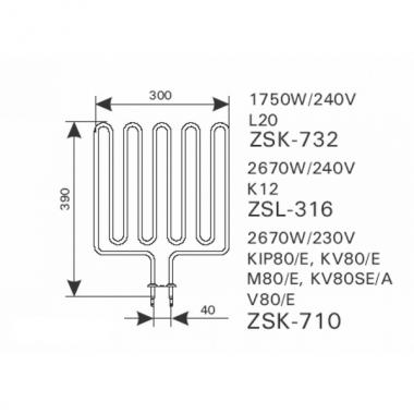 ТЭН арт.12011 аналог Harvia ZSK-710