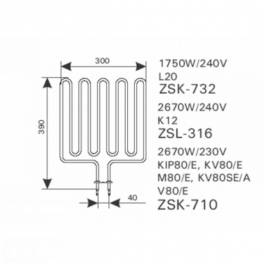 ТЭН арт.12028 аналог Harvia ZSL-316